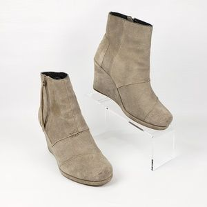 Toms Taupe Desert Wedge High Booties